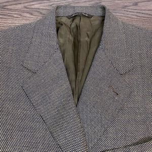 Canali Tan & Navy Check Silk Sport Coat 40R